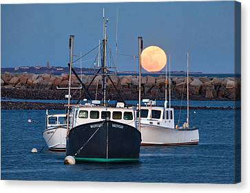 Sea Moon Full Moon Canvas Print - Moon Rising Over Rye Harbor by Eric Gendron