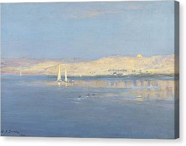 Moon Rising Over The Nile, 1900 Canvas Print