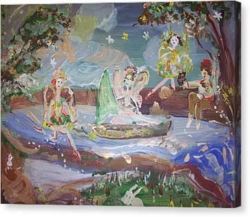 Moon River Fairies Canvas Print by Judith Desrosiers