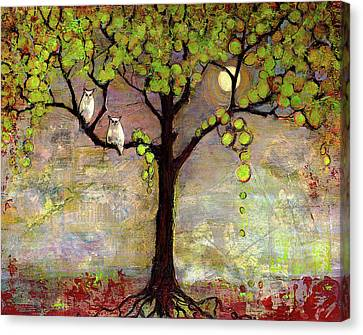 Mix Media Canvas Print - Moon River Tree Owls Art by Blenda Studio