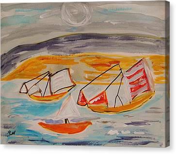 Moon Shadow On Sailing Boats Canvas Print by Mary Carol Williams