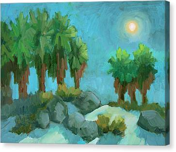 Canvas Print featuring the painting Moon Shadows Indian Canyon by Diane McClary