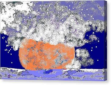 Moon Sinks Into Ocean Canvas Print by Beebe  Barksdale-Bruner