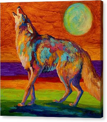Western Canvas Print - Moon Talk - Coyote by Marion Rose