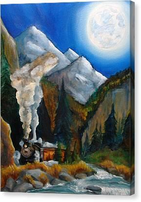 Moon Train  Canvas Print by Andrea  Darlington