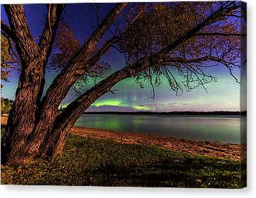 Moon Vs Aurora Canvas Print