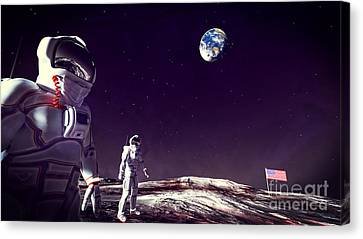 Canvas Print featuring the digital art Moon Walk by Methune Hively