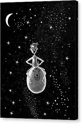 Pen And Ink Drawings Canvas Print - Moonage Daydream  by Andrew Hitchen