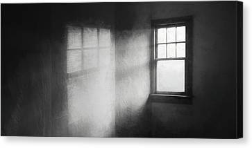 Shadows And Light Canvas Print - Moonbeams On The Attic Window by Scott Norris