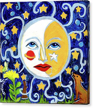 Canvas Print featuring the painting Moonface With Wolf And Stars by Genevieve Esson