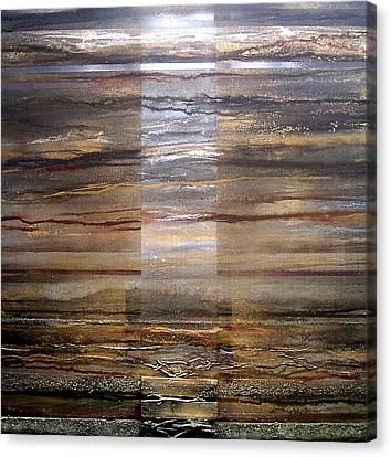 Moonlight And Driftwood Series Black  Sepia And Gold Canvas Print by Mike   Bell
