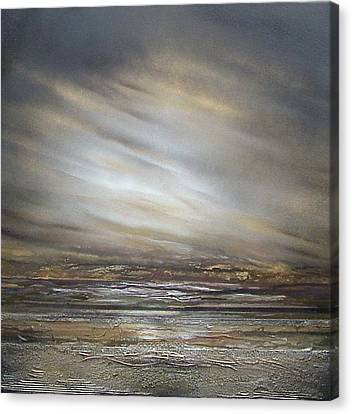 Moonlight And  Driftwood Series Druridge Bay Canvas Print by Mike   Bell
