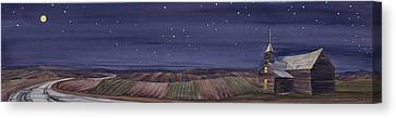 Canvas Print featuring the painting Moonlight And School by Scott Kirby