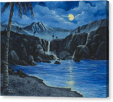 Moonlight And Waterfalls Canvas Print