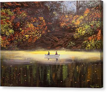 Moonlight Canoeing Canvas Print by Connie Tom
