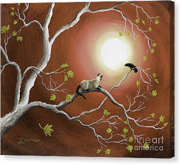 Moonlight Conversation In Sepia Canvas Print