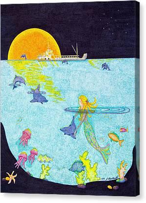 Moonlight Crossing 2 Canvas Print by Judy Cheryl Newcomb