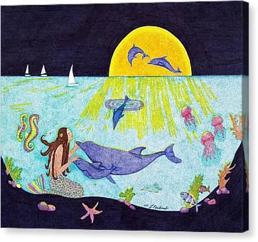 Moonlight Crossing 3 Canvas Print by Judy Cheryl Newcomb