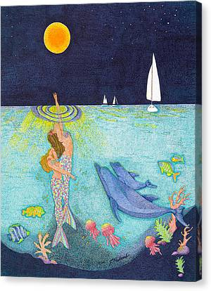 Moonlight Crossing Canvas Print by Judy Cheryl Newcomb