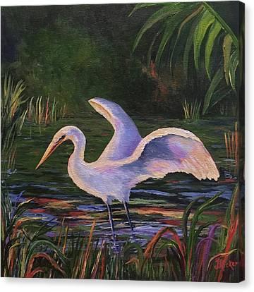 Moonlight Egret Canvas Print