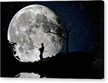 Canvas Print featuring the photograph Moonlight Fishing Under The Supermoon At Night by Justin Kelefas