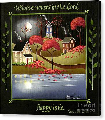 Moonlight In Cottage Grove Canvas Print by Catherine Holman