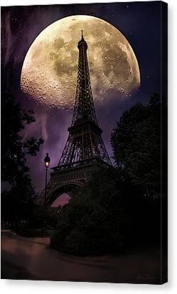Moonlight In Paris Canvas Print by John Rivera