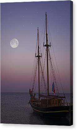 Moonlight In The Med Canvas Print by Mark H Roberts