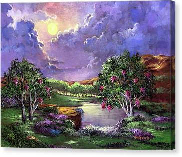 Moonlight In The Woods Canvas Print