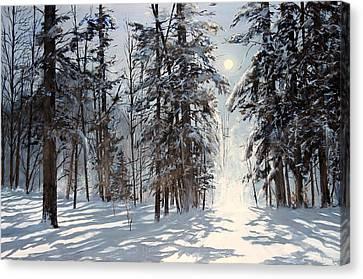 moonlight in Vermont Canvas Print by Ken Ahlering