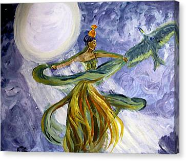 Canvas Print featuring the painting Moonlight Majesty by Barbara Giordano