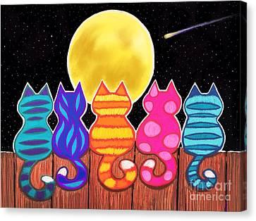 Feline Canvas Print - Moonlight Meowing by Nick Gustafson