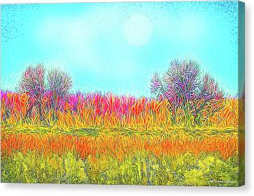 Canvas Print featuring the digital art Moonlight On Golden Fields - Boulder County Colorado by Joel Bruce Wallach