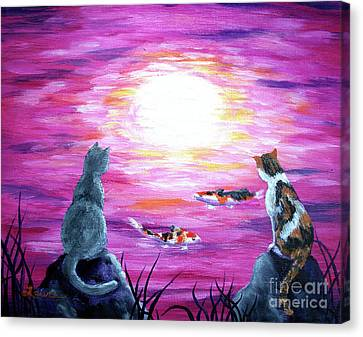 Moonlight On Pink Water Canvas Print by Laura Iverson