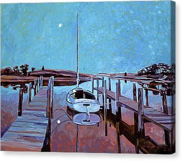 Moonlight On The Bay Canvas Print by David Lloyd Glover