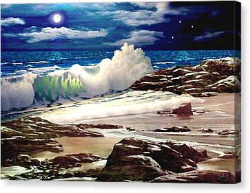 Moonlight On The Beach Canvas Print by Ron Chambers