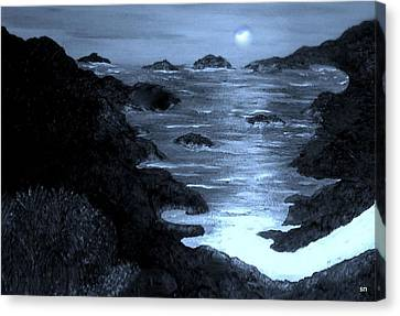 Moonlight On The Coast Canvas Print by Sherri's Of Palm Springs