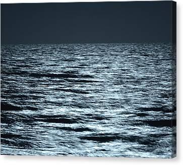 Moonlight On The Ocean Canvas Print by Nancy Landry
