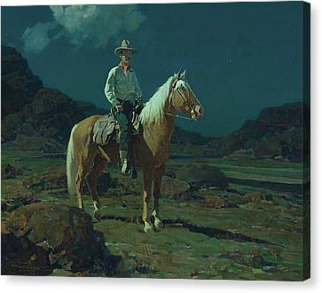 Moonlight On The Ranch Canvas Print by MotionAge Designs
