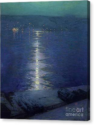 Riviere Canvas Print - Moonlight On The River by Lowell Birge Harrison