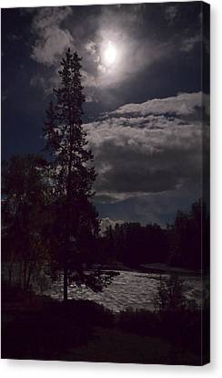 Canvas Print featuring the photograph Moonlight On The River by Mary Lee Dereske