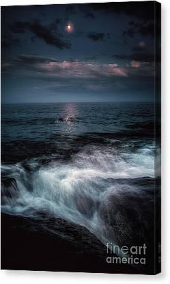 Moonlight On The Rocks Canvas Print by Scott Thorp
