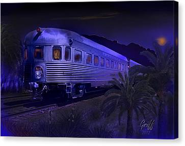 Moonlight On The Sante Fe Chief Canvas Print