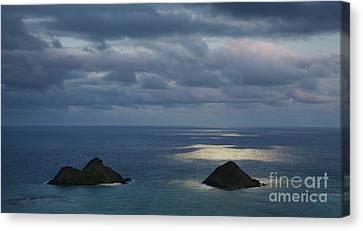 Moonlight Over Mokulua Islands Canvas Print by Charmian Vistaunet