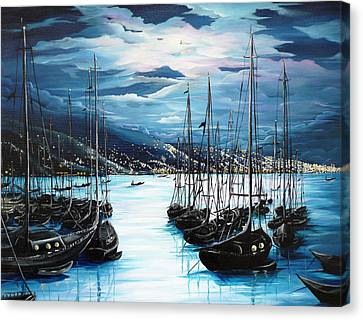 Ports Canvas Print - Moonlight Over Port Of Spain by Karin  Dawn Kelshall- Best