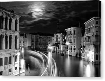 Moonlight Over Venice Canvas Print by Floriana Barbu