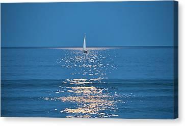 Canvas Print - Moonlight Sail 2 - Ogunquit Beach - Maine by Steven Ralser
