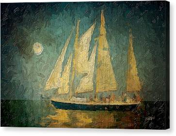 Cape Cod Canvas Print - Moonlight Sail by Michael Petrizzo