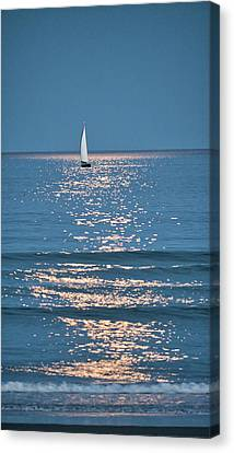 Canvas Print - Moonlight Sail - Ogunquit Beach - Maine by Steven Ralser