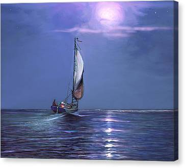 Moonlight Sailing Canvas Print by David  Van Hulst